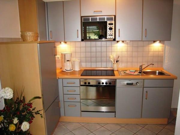 Blick auf den Küchenbereich, komplett ausgestattet, viele E-Geräte und Geschirrspüler