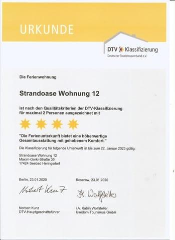 DTV-Urkunde über 4 Sterne