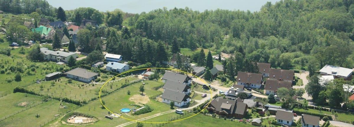 Panorama Luftbild Ferienhäuser Bansin