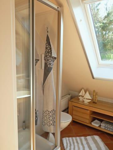 Dusche und WC inklusive großflächigem Klapp-Schwing-Dachfenster mit Außen-Jalousie (Fernbedienung) und Insektenrollo