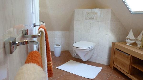 ... in der anderen Raumhälfte befindet sich das WC. Ein Dach-Einbaufenster sorgt für eine natürliche Belüftung und ein angenehmes Raumklima ...