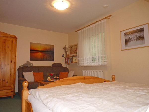 Wohnbereich mit Kleiderschrank, Sofa (ggf. ausklappbar zur Doppelbettcouch bei Aufbettung für max. 1 Pers.), kleinem Tisch und Sessel und Wandboard