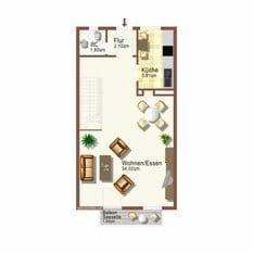 """Grundriss der unteren Etage (Wohnbereich) der Maisonette-Fewo """"Rügen 35"""""""