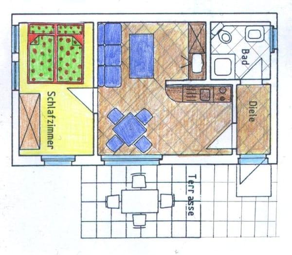 Grundriss Erdgeschoss Wohnung 1