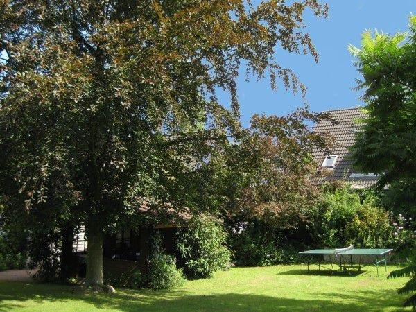 Der große Gästegarten mit dem Gartenhaus