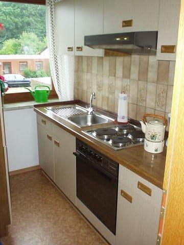 Küche mit Geschirrspüler,dopp.Geschirr,Backofen, Hochkühlschrank