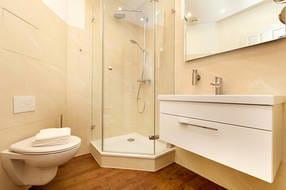 Das neue Bad mit großem Waschtisch, Echtglasdusche und Regenbrause sowie WC und Fön.