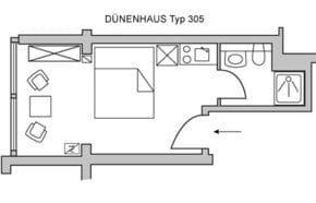 Das Appartement D305 Typ D305 ist unsere kleinste Einheit.
