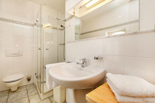 Hier im Bild das Bad mit Echtglasdusche, WC und Waschtisch.