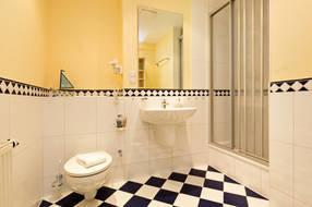 Hier ein Blick in das schöne Duschbad.