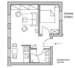 Zwei Zimmer, Küche, Bad - die Wohnung D304 Typ D304 liegt zur Wald- und Hofseite (Osten und Süden). Vom Schlafzimmer blicken Sie ins Grüne und zum Wald.