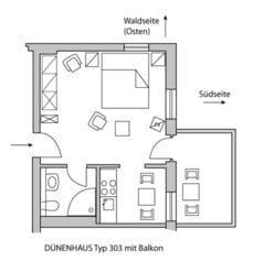 Vom Balkon des 1 Zi-App. D203 Typ D303 können Sie nach drei Seiten blicken. Hauptrichtung Süden.