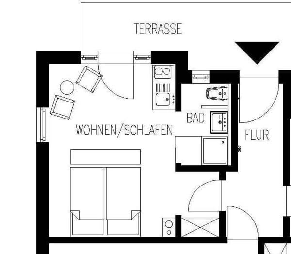 Villa Amelie - Binz auf Rügen - Ferienwohnung 1 Grundriss