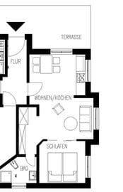 Grundriss Ferienwohnung 2 - Villa Amelie - Binz auf Rügen