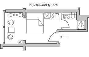 Klein, aber fein: Das Appartement D205 Typ D305 ist unsere kleinste Einheit.