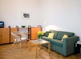 Unser  2 Zi.-Appartement D204 Typ D304 liegt zur Hof- und  Waldseite. Das Sofa im Wohnzimmer lässt sich zum Bett ausziehen. Die  Küche liegt separat und hat einen Essplatz.
