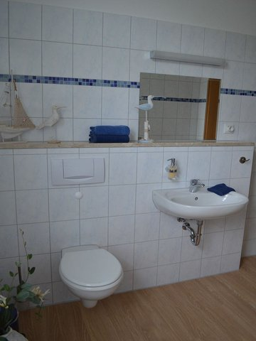 geräumiges Tageslicht-Badezimmer mit Dusche und WC