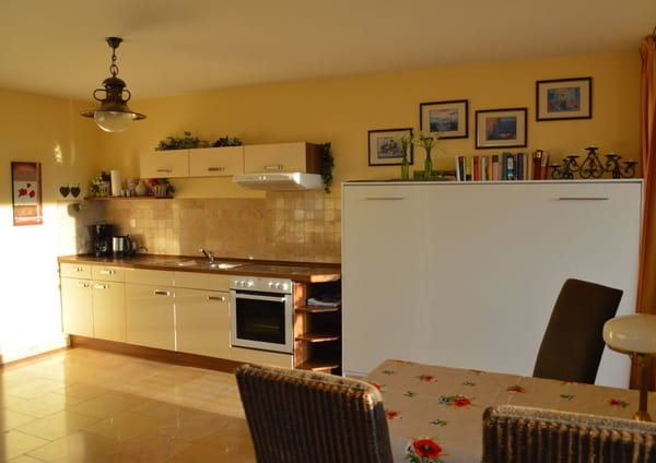 großzügiger Wohnbereich mit Küchenzeile