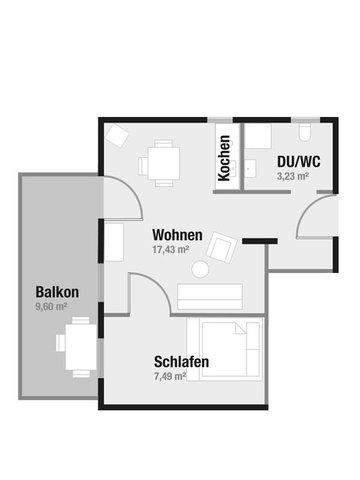 Grundriss des ca. 38 m² großen Apartments 551