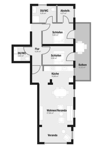 Grundriss des ca. 83m² großen Apartments 552 mit einem 12m² großen seitlichen Balkon mit Meerblick