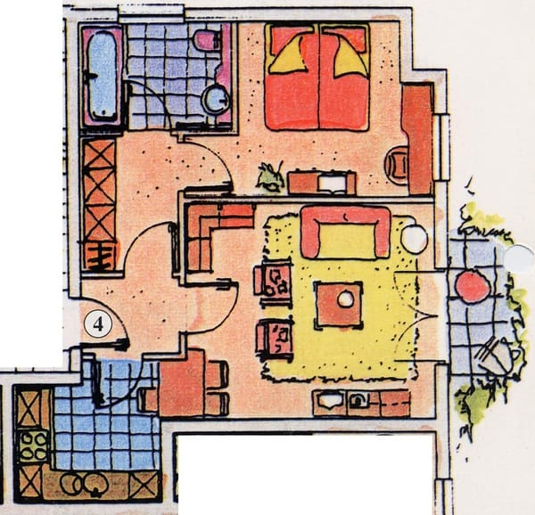 Grundriss der Ferienwohnung Typ 1 Nr. 4