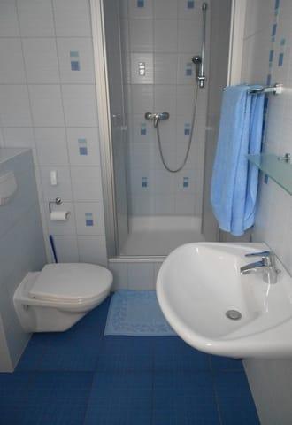 Badezimmer (voll gefliest)  mit Waschbecken, WC, Dusche