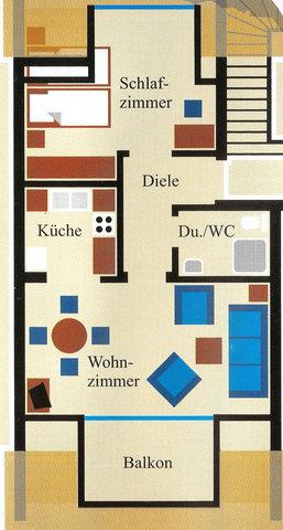 Grundriss der Wohnung (44 qm)
