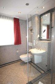 das helle Badezimmer mit WC, Waschtisch und Dusche