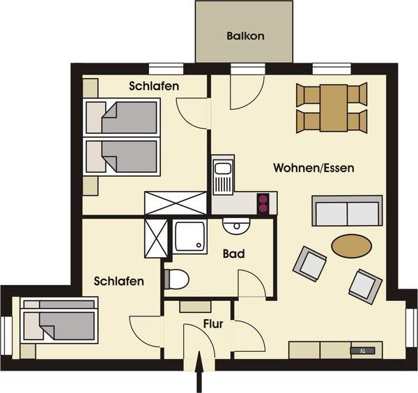 Grundriss der gemütlichen Ferienwohnung im OG für max. 2 Erwachsene und 2 Kinder mit getrennten Schlafzimmern