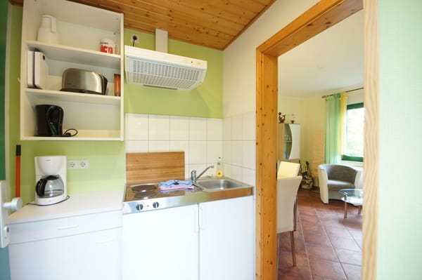 Pantryküche mit Kühlschrank u 2 Kochplatten