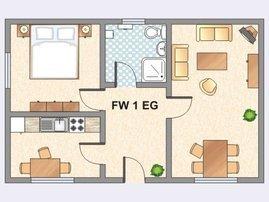 Grundriss FeWo I   im Untergeschoss. Nicht im Bild: zusätzliches Bett im Wohnzimmer für dritte Person.