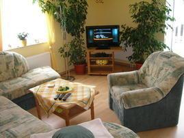großes Wohnzimmer mit Sat-TV, Radio, DVD