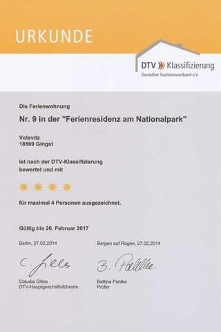 Die WSohnung 9 ist mit ****-DTV-Zertifizierung mit 4 Sternen ausgezeichnet