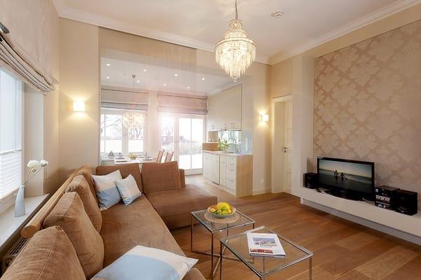 Design Pur!  Das 2-Zimmer-Appartement im Erdgeschoss mit einer Größe von 50m² ist ein ideales Feriendomizil für Paare als auch wegen seiner 4vollwertigen Betten für zwei Paare u. Familien.