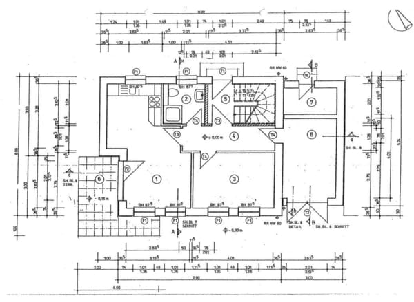 Grundrisszeichnung der Erdgeschosswohnung (vermaßt)