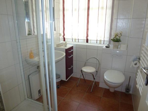 Das helle Bad mit Dusche und WC