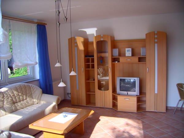 Schrankwand im Wohnbereich. Integriert ist ein Fernseher mit Sat-Receiver, eine Musik-Anlage mit Radio, CD-Player, Cassettenfach und Slots für USB-Sticks und Mikro-Cards, und natürlich Stauraum.