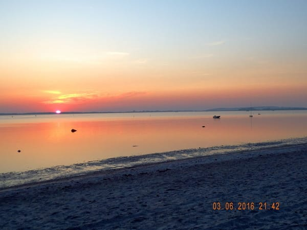 Sonnenuntergang Strand Schaprode, Blick auf Hiddensee