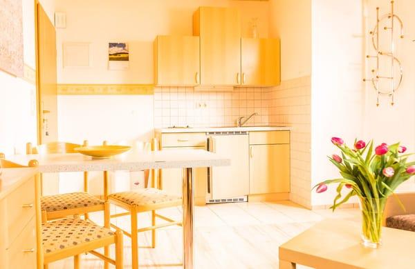 Wohn- und Essbereich mit Küchenzeile