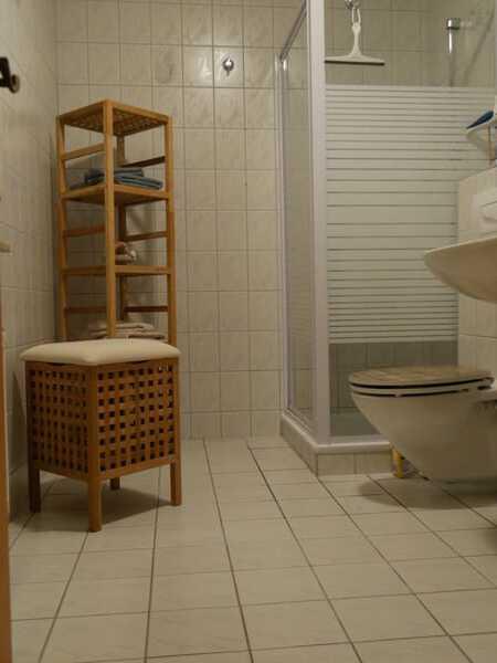 Das Badezimmer verfügt (neben Tageslicht und Fön) über eine Duschkabine und ist komplett gefliest.