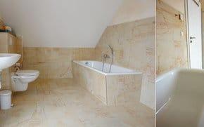 das erste großzügige helle Badezimmer mit WC, Waschtisch, Dusche und Badewanne / ein zweites Badezimmer im Erdgeschoss hat Dusche, WC und Waschtisch