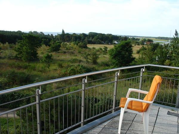 Blick vom Balkon SW, Richtung Achterwasser