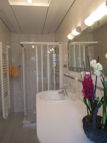 Duschbad mit großem Waschtisch mit viel Ablagefläche und  mit Fenster