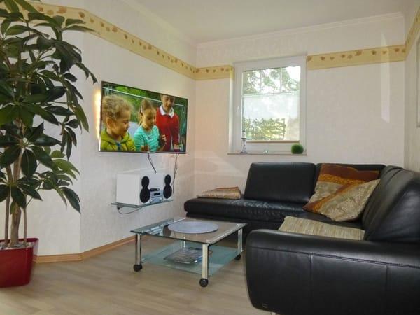 Wohnzimmer mit HiFi Anlage und Ambilight Fernseher