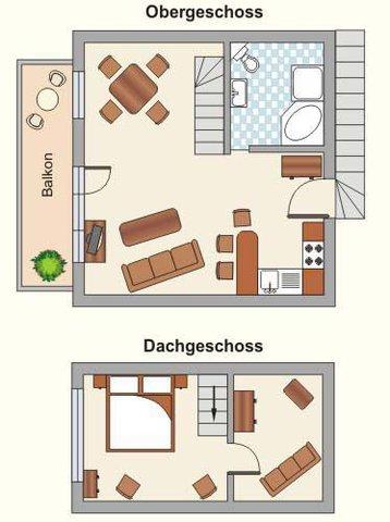 Der Grundriss der Wohnung über zwei Etagen -1.OG und DG-