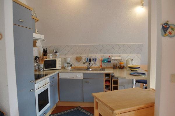 Die komplett ausgestattete Küche mit Geschirrspüler, Microwelle und Backofen