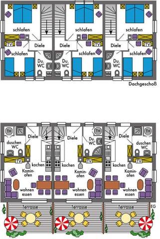 Grundrisse der Reihenhäuser, Bauausführung: erhöhter Schallschutz. 5-Sternequalität nach DTV.