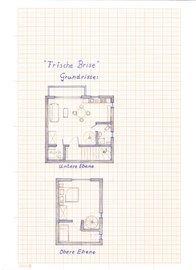 So sind die Grundrisse und die Möblierung der Maisonette (die Couch unten ist eine Schlafcouch)