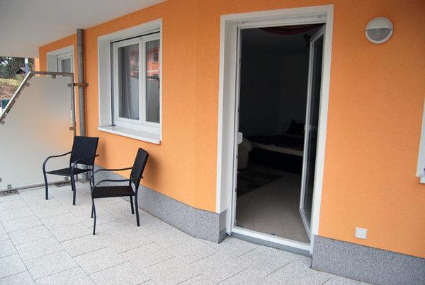 Terrasse mit Blick auf die Kurmuschel