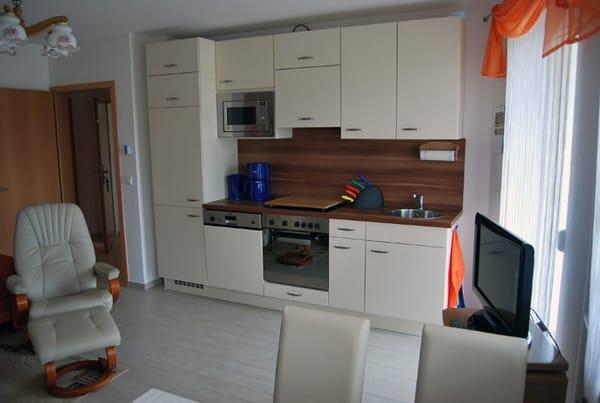 komplett ausgestattete Küchenzeile mit Kochherd, Mikrowelle und Geschirrspüler